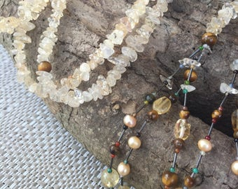 HANDCRAFTED  Citrine Crystal Necklace with Tiger Eye Tassles - Stunning and Unique