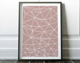 Geometric Print, Wall Art, Wall Art Prints, Blush Pink Print, Scandinavian  Print