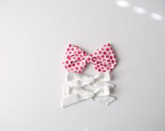 Set Pink Polka Dot, White Pigtail set