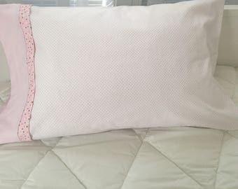 Pink polka dot flannel pillowcase