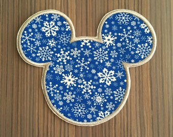 Large Holiday Mickey Mouse Iron on Applique Patch