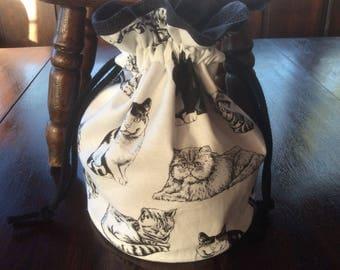 Handmade Cat Drawstring Bag.Drawstring Gift Bag.Unique.Drawstring Tote.Birthday Gift.Animal Bag.Cat Tote.