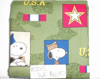 Fabric- 1 yard piece - Military Snoopy/Woodstock/Star/Camo/Green Camoflague/Blocks/USA/Patriotic (#3015) Quilting Treasures Project Linus