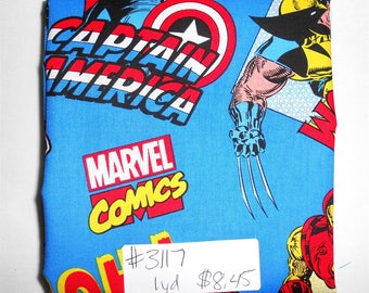 Fabric- 1 yard piece - Blue Marvel Superhero/Hulk/Thor/Ironman/Wolverine/Spiderman/Captain America/Marvel Comics (#3117)