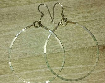 Minty Green Ombre Beaded Hoop Earrings with Shiny Satin Finish