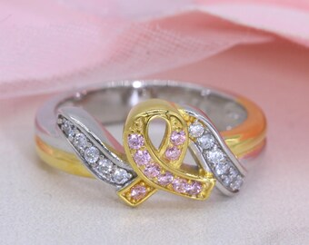 Pink Ribbon Ring/Sterling silver Ring/Two-tone Ring/ Pink Ribbon Statement Ring S111