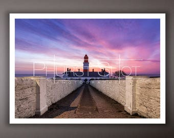 Lighthouse photogrpahy print, Souter lighthouse pink and blue sunrise photo, golden hour shot, landscape image