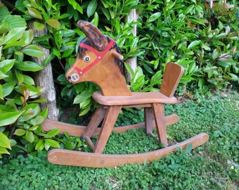Wooden Toy rocking horse, painted Brown toggle clasp