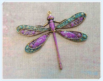 dragonfly pendant, charm, hand painted brass
