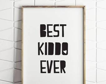 80% OFF best kiddo ever, kids wall art, kids wall decor, black and white kids art, black and white kids decor