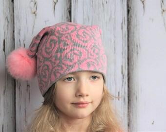 Knit pink beanie / Pink pom pom hat / Fur pom pom beanie / Two pom pom hat / Pink  beanie for girl / Pom pom hat / Kids pom pom beanie