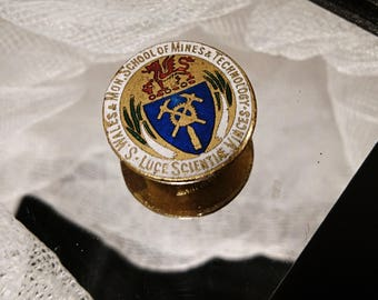 Collectable vintage pin badge, South Wales school of mines and technology, enamel pin badge, vintage enamel pin badge, mining interest