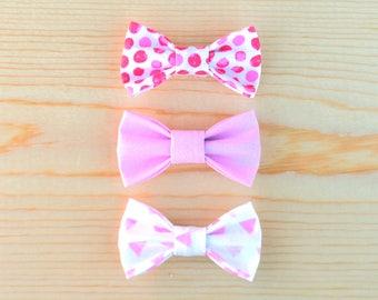 Valentine's Bow Set, Baby Girl Bows, Baby Bows, Bows, Pink Bows, Pink Glitter Bows, Watercolor Bows, Polka Dot Bows, Itty Bitty Bows