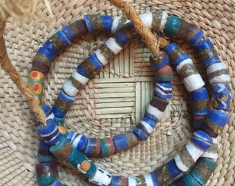 African glass beaded necklace
