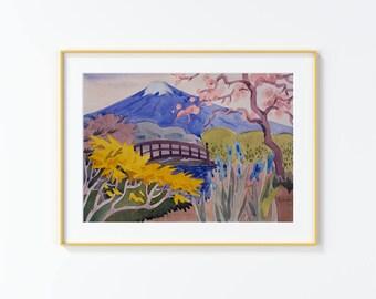Original Watercolor Painting, Mount Fuji, Japanese Garden , Watercolor Painting, size 9in x12in