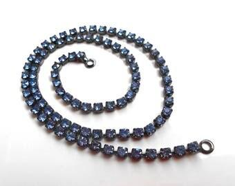1 x 2 rings in silver grey Gunmetal & 32 CM sapphire blue Swarovski Crystal chain rhinestone Vintage serving / art 0049