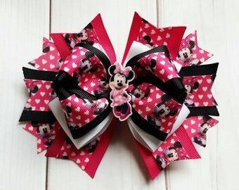Minnie Mouse Hair Bow/Minnie Mouse Hair Clip/Minnie Mouse Bow/Minnie Hair Bow/Disney Hair Bow/Character Hair Bow/Minnie Mouse Barrette