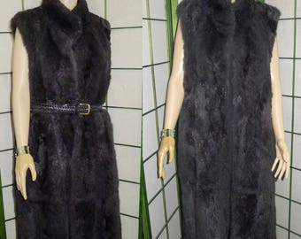 Tall vintage charcoal gray opossum fur vest  Excellent condition  M-L