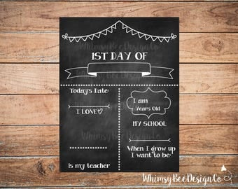 First Day Of School Reusable Chalkboard Printable Sign Back to School Poster