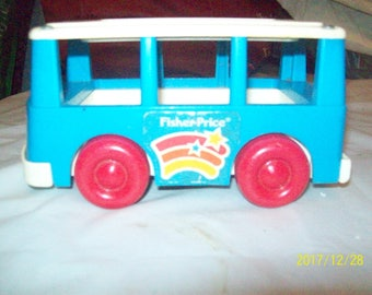 Vintage Fisher Price Little People Vintage Blue Bus 1990 for Chunky People