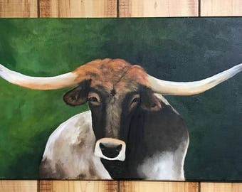 Longhorn Painting, Original Painting of Longhorn, Home Decor, Gift for Home, Country Home, Ranch House Decor, Cow Painting, Southwest Art
