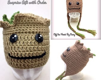 Crochet Baby Groot Inspired Hat/Multi-Size/2 Styles