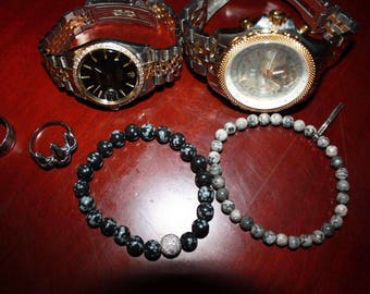 Snowflake obsidian and grey crazy lace bracelet 8mm and 6mm round stones