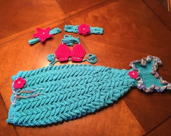 6-12 Month Size Crochet Baby Mermaid Tail Set, Photo Prop, Costume, Baby Gift