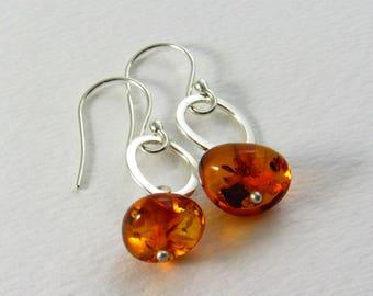 Amber Dangle Earrings, Silver Amber Earrings, Orange Earrings, Amber Jewelry, Modern Earrings, Lightweight Dangles, Holiday Gift For Her