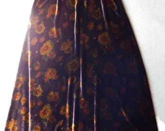 Laura Ashley Maxi Long Skirt Velvet Silk Mix Brocade Bohemian   Size 8