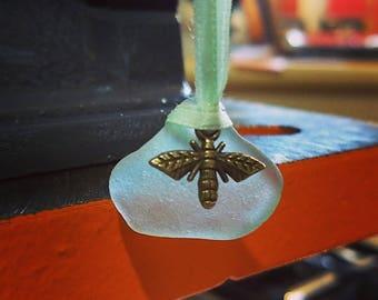 Sea Foam Blue Sea Glass Necklace