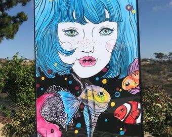 Amelie   Watercolor Mermaid   Dreamer   Audrey Tautou   Teen Girl