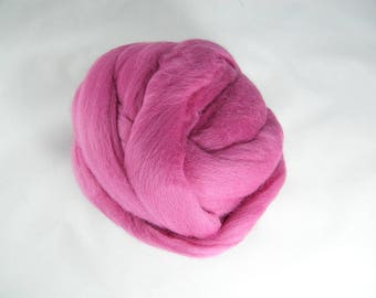 Easter Egg Pink Merino Roving - 21.5 Micron - Next to Skin Softness - Vibrant, Rich Colour