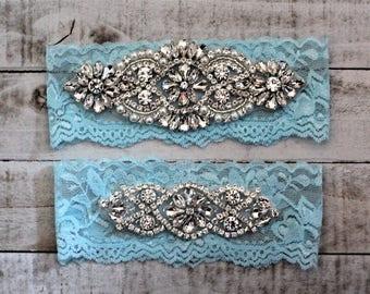 SALE - something Blue Bridal Garter, Lace Wedding Garter Set, bridal garter set, vintage rhinestones, pearl and rhinestone garter set