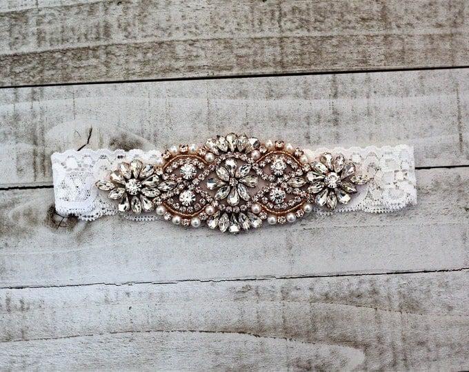 SALE - Rose Gold Bridal Garter, Lace Wedding Garter Set, bridal garter set, vintage rhinestones, pearl and rhinestone garter set