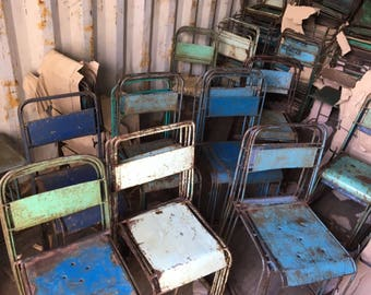 Solid heavy metal chairs
