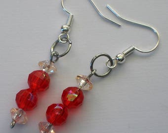 Red Bead Earrings, beaded jewellery, pierced ear earrings