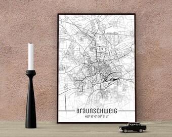 Braunschweig-Just a map-din A4/A3-Print