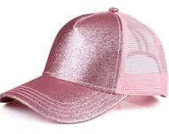 CC Pink Glitter Ponytail Cap - Pony Tail Hat