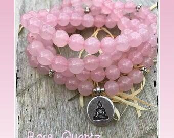 Rose quartz Mala, 108 beads, Mala Bracelet, Reiki, Buddha, Rosary, Prayer beads, pink quartz, buddha mala, om, meditation beads, rose quartz