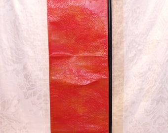 Red and yellow Japanese obi interior