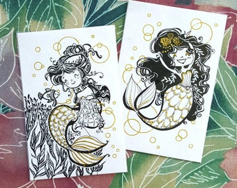 ORIGINAL Painting - Ink Mermaid