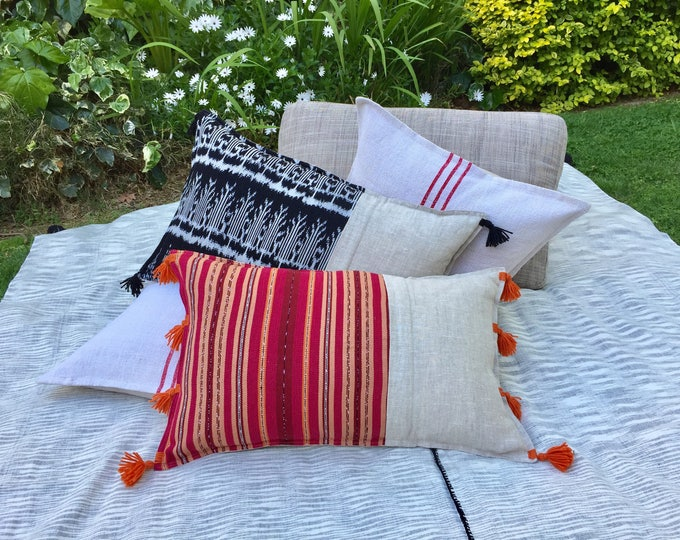 Fair Trade Artisan Red/Orange Stripe Textile + Natural Washed Eco Friendly Linen + 8 Australian Merino Wool Tassels Lumbar Cushion Cover