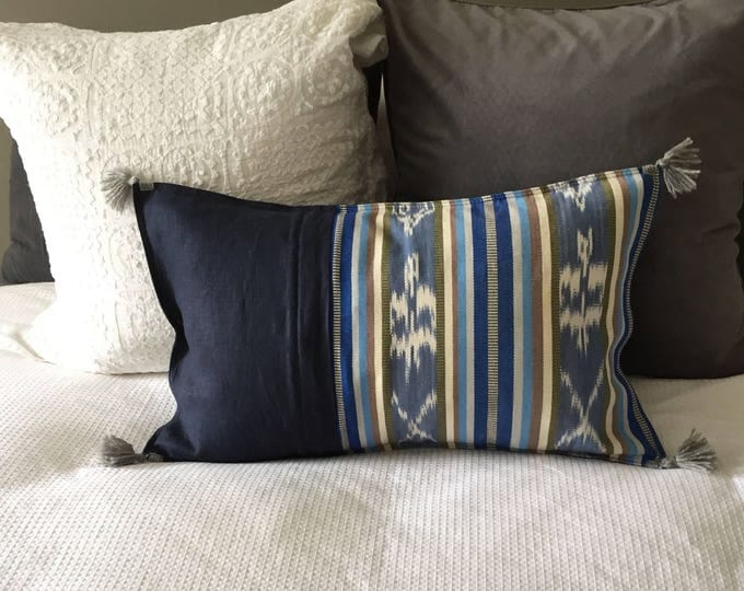 Fair Trade Artisan Blue Ikat Stripe Textile + French Navy Washed Eco Friendly Linen + Australian Merino Wool Tassels Lumbar Cushion Cover