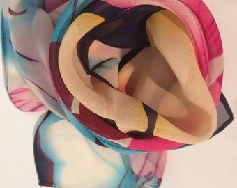 Watercolor Flowers Silk Scarf