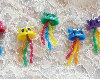 Colorful Cat jelly kawaii fob polymer clay keychain charm