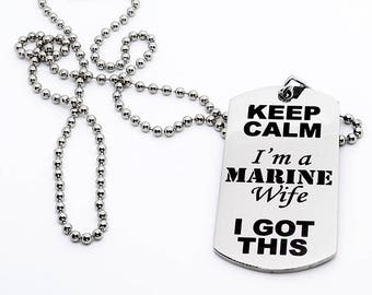 Dog Tag, Military Style Dog Tag, Stainless Steel Dog Tag, Jewelry Dog Tag, Personalized Dog Tag, Military Style Jewelry, Marine Wife