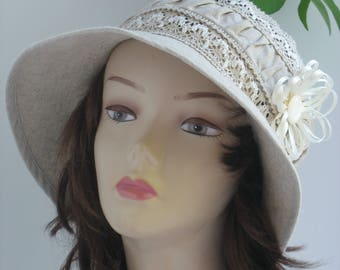 Royal Ascot Hat Summer Lace Hat Wedding hat beige hat Racing derby hat Tea Party hat 1920s style hat downton abbey hat Romantic summer hat