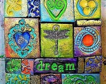 Decorated box, polymer clay mosaic, trinket box, keepsake box, intention box, dragonfly, prayer box