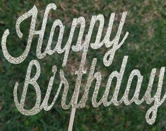 Happy Birthday cake topper. Gold cake topper, birthday party